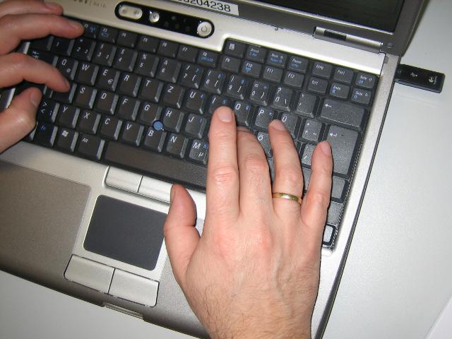 Tippen auf der Tastatur